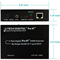 J-Tech Digital Hdmi Extender Over Tcp/ip Ethernet/over Single Cat5e/cat6 Cable 1080p with IR Remote Control - Up to 400 Ft --Receiver Only