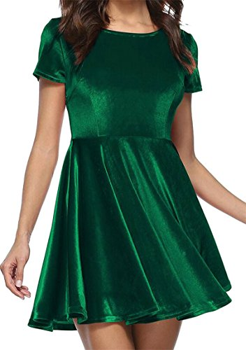 Velluto Nerastro Linea Casuale Donne Corto Il Oro Manicotto Breve Verde Di Vestito Ha Oscillazione Jaycargogo Del Delle Una Pieghettato RU0wxwAq