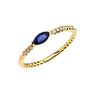 14k Yellow Gold Dainty Diamond and Marquise Sapphire Beaded Stackable/Promise Ring