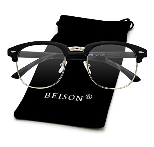 Beison Womens Mens Horned Rim Wayfarer Glasses Frame Nerd Eyeglasses (Matte black / Silver, - For Women Rimless Eyeglasses Semi