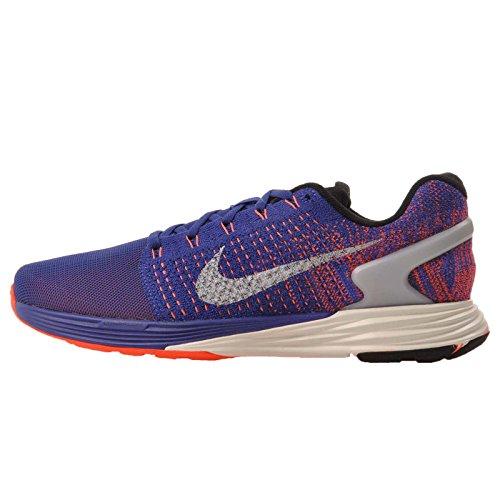 Nike Lunarglide 7 Scarpe da Ginnastica, Uomo Blue / Silver / Red (Dp Ryl Bl / Rflct Slvr-ttl Crmsn)