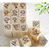 12Pcs/Lot Diy Scrapbooking Vintage Wood Stamps Decoration Creative Girl And Boystamp Set Gift^.