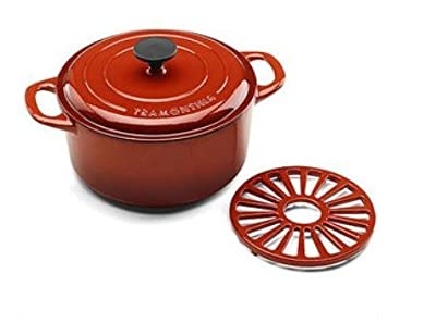Tramontina 5.5 Quart Cast Iron Dutch Oven with Trivet - RED