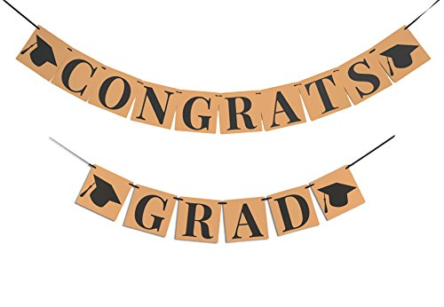 CONGRATS GRAD BANNER DECORATION SIGN - Perfect Graduation Decorations Party Supplies for Grad Party | Classy Kraft Paper Bunting Graduation Banner | Eye-Catching Black Ribbon and Cap Decor,6.3x6.3Inch