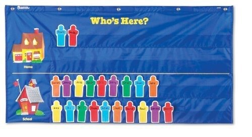 Learning Resources Attendance Pocket Chart, Blue
