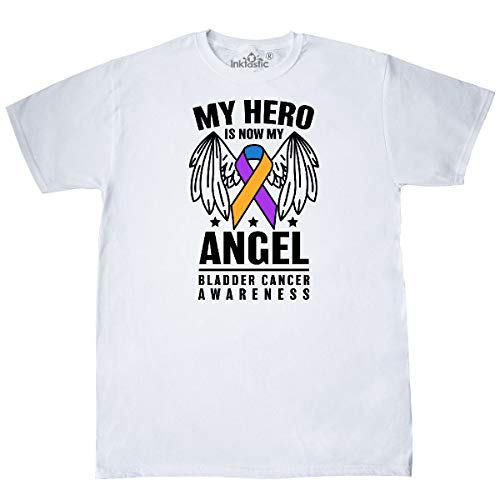 inktastic - My Hero is Now My Angel Bladder Cancer T-Shirt Large White 32f57