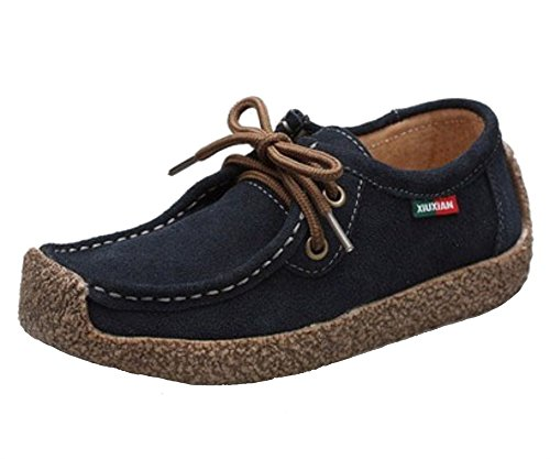 WUIWUIYU Women's Mother's Lace-up Moccasin Gommino Loafers Dark Blue L8lsrc1