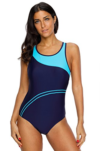 CharmLeaks Women's Super Pro Swimweaer Sporty Training Racing Bathing Suit Color Block Bule-new - Suits Bathing Racing