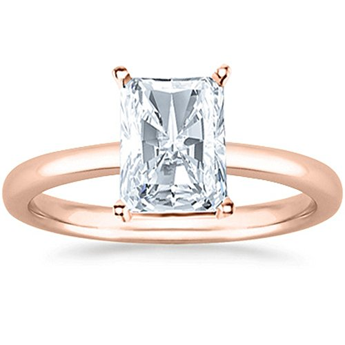 1 Carat GIA Certified 14K Rose Gold Solitaire Radiant Cut Diamond Engagement Ring (1 Ct D-E Color, VS1-VS2 Clarity) ()