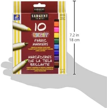Assorted Sargent Art 22-1568 10 Count Bright Fabric Markers