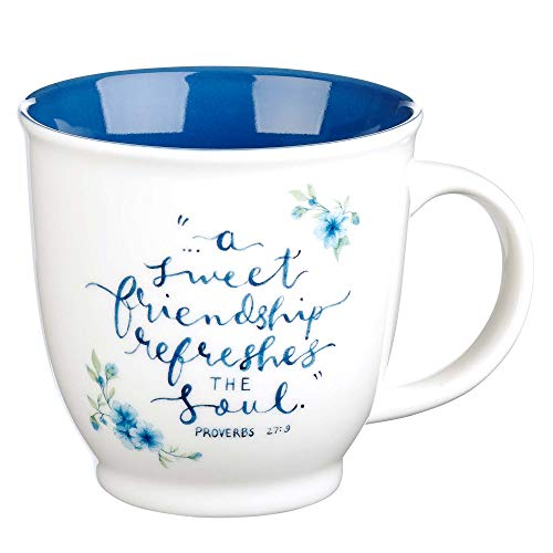 Christian Art Gifts Blue Floral Ceramic Mug | Sweet Friendship Refreshes Soul Proverbs 27:9 | Christian Friendship Mug for Women