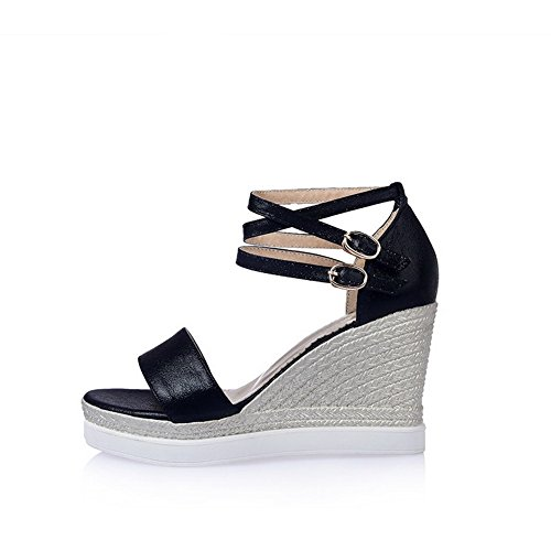 AmoonyFashion Womens Buckle Open Toe High-Heels Microfiber Solid Platforms & Wedges Black pIBYrHSC