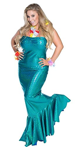Delicate Illusions Plus Size Ocean Nymph Mermaid Womens Halloween Costume 3X (18-20) Turquoise (Plus Size Mermaid Costumes)