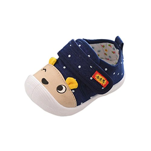Staron Baby Cute Bear Sneaker Toddler Kid Squeaky Single Soft Sole Sandals Crib Shoes (6-12 Months, Dark Blue❤️)
