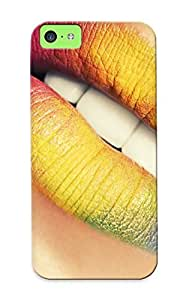 Pirntalonzi Case Cover Protector Specially Made For Iphone 5c Closeup Multicolor Lips Mouth Teeth