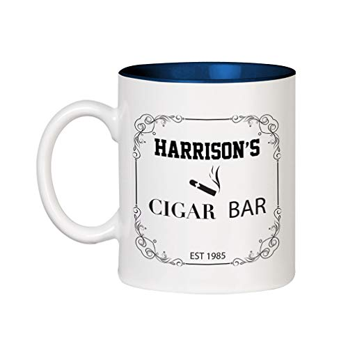 - Personalized Custom Text Store Sign Cigar bar Ceramic Inner Color Cup Coffee Mug - Blue