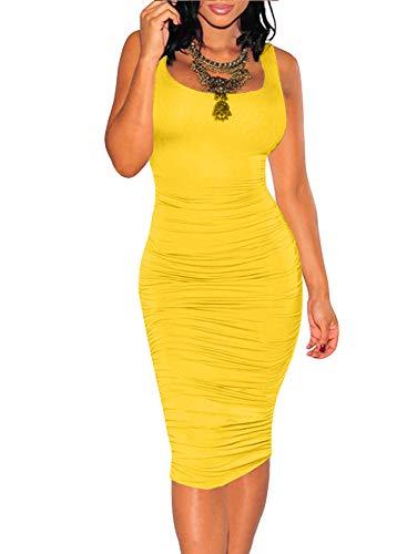 (BEAGIMEG Women's Sexy Ruched Bodycon Casual Solid Sleeveless Tank Midi Dress Yellow )