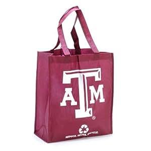 NCAA Texas A&M Aggies Printed Non-Woven Polypropylene Reusable Grocery Tote Bag, One Size, Red