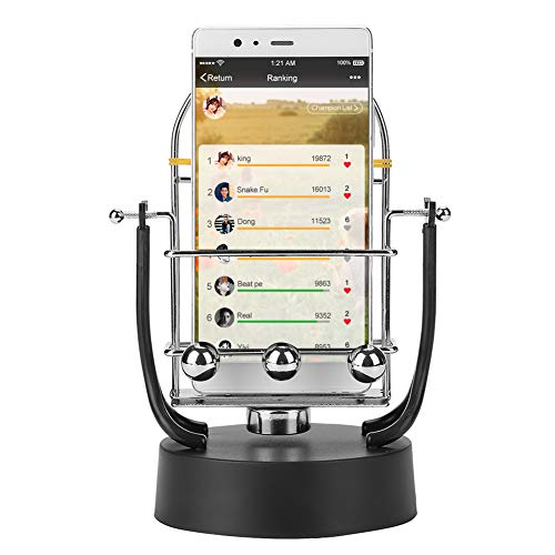 Phone Swing Device, Automatic Shake Wiggle Electronic Perpetual Motion Machine Rotary Swing Balance Ball Motion Brush Step Safety Wiggler Mobile Phone Holder with USB Cable