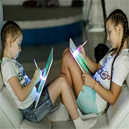 Glomixs Light up Drawing Fun Developing Toy Luminescent Drawing Board Glow in Dark Kids Paint Toy Draw Sketchpad Board Portable Fun and Developing Toy for Children Kids School