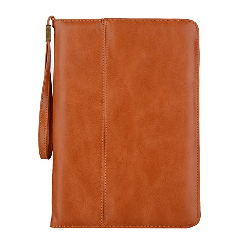 iPad Pro 9.7 inch case,Vacio PU Leather Case Tablet Smart Stand Case Slim Fit Cover with Card Slot and Hand Strap for iPad air/air 2/ Pro 9.7/2017 New iPad (Light Brown) by Vacio
