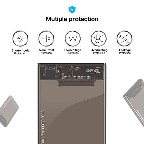 Kycola Hard Drive Enclosure RJ01 USB 3.0 to Hard Drive Disk External Enclosure Case for 2.5 Inch/3.5 Inch SATA I/II/III/HDD 10TB Support UASP(Black) (RJ01, Black) (RJ02-A, RJ02-A/Black) by Kycola (Image #3)