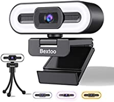 1080P Webcam mit mikrofon und Dreifarbiges Ring Fülllicht, USB Web cam mit Stativ Bextoo, Plug and Play für Desktop &...