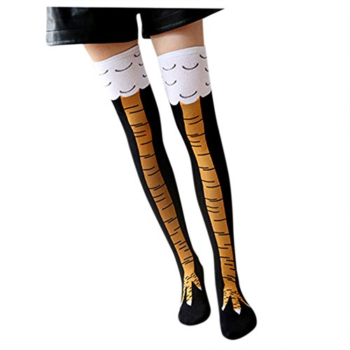 Women Stretchy High Socks Chic Chicken Feet Printed Leg Warmers (Chicken Leg Warmers)