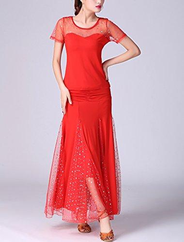 Dancewear Whitewed Dance Pieces Routine Ballroom Practice Modern 2 Gown Red Standard ww7SFnPUq