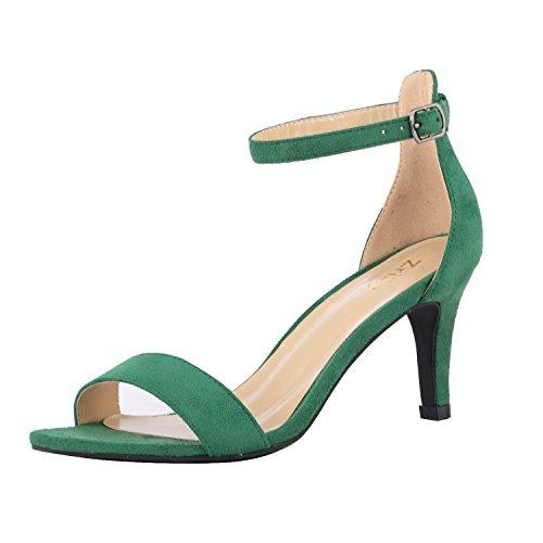ZriEy Women's Heeled Sandals Ankle Strap High Heels 7CM Open Toe Mid Heel Sandals Bridal Party Shoes Velvet Green Size 5
