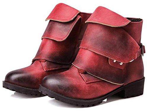 Idifu Kvinna Elegant Dubbade Dra På Låg Chunky Häl Martin Boots Röd