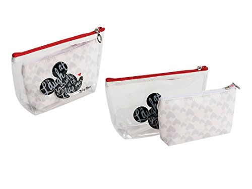 (DISNEY Mickey Mouse 2 bag bath hanging travel pouch case set transparent and)