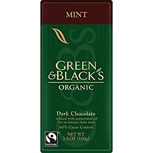 Green & Black's Organic Dark Chocolate with Mint, 60% Cacao, 3.5 Ounce Bars (Pack of 10)