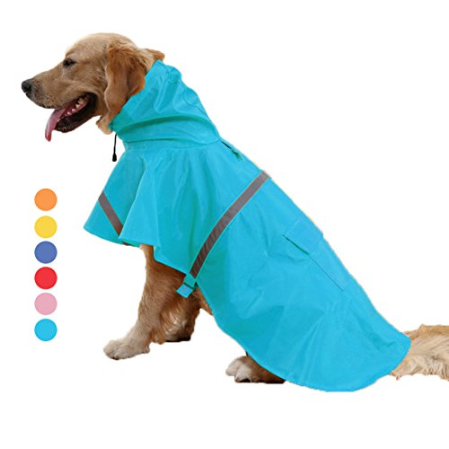 - GabeFish Labrador German Shepherd Small Large Breeds Dogs Raincoat Pets Waterproof Jacket Poncho With Strip Reflective Light Blue M