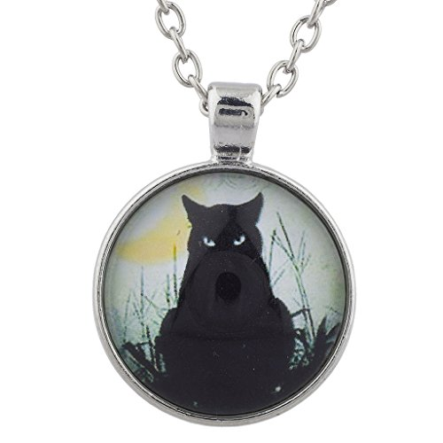 Lux Accessories Silverton Black Cat Magic Witch Halloween Charm Pendant Necklace