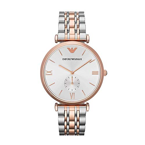 Emporio Armani Women's Quartz Watch with Stainless-Steel-Plated Strap, Two Tone, 18 (Model: AR1677