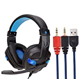 USB Wired LED 3.5mm Gaming Headset Headphones with Mic for PC Laptop Phone for Women Men (Blue)