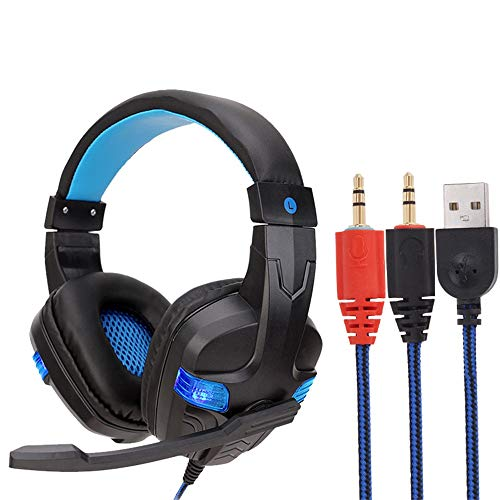 USB Wired LED 3.5mm Gaming Headset Headphones with Mic for PC Laptop Phone for Women Men (Blue) by Goodtrade8 Clearance