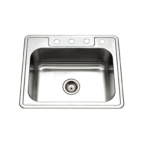 (Houzer 2522-8BS4-1 Glowtone Series Topmount Stainless Steel 4-holes Single Bowl Kitchen Sink, 8-Inch Deep)