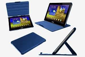 NAVITECH – Funda Polipiel Color Azul Con Varios Puntos De Sujección En Stand Y Banda Elástica Para La Mano Para La BQ LivingStone, 10 Pulgadas