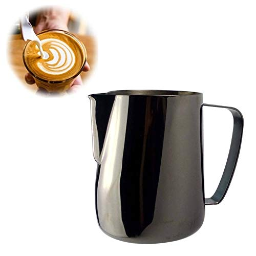 Milk Jug 0.3-0.6L Stainless Steel Frothing Pitcher Pull Flower Cup Coffee Milk Frother Latte Art Milk Foam Tool Coffeware, Capacity:350ml Premium Material (Color : Black) by SHIFENX