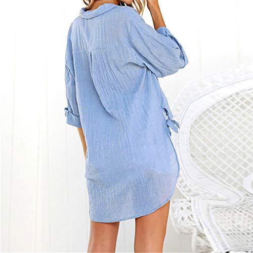 (Womens Casual Button Down Plus Size T-Shirt V Neck 3/4 Sleeve Summer Loose Tie Side Cotton Linen Blouse Tops(Blue,XXXXL))