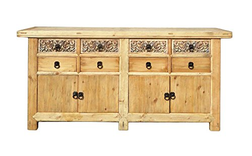 Chinese Vintage Natural Finish Carving Sideboard Buffet Cabinet Acs1147 from A Large Cabinet