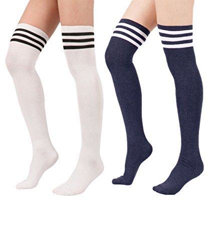 [Menglihua Women Warmers Stripe Tube Athlete Cosplay Stockings Over Knee High Socks 2 Pairs-(White&Navy) One] (Adult Cheerleader Outfits)