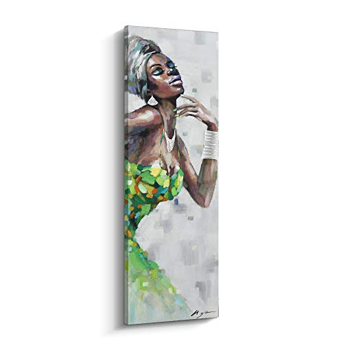 (PinetreeArt Black Art Wall Decor Black Women in Dress African American Wall Art Canvas Painting for Home Decoration for Livingroom (D, 12 x 36 inch))