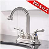 VCCUCINE Commercial Contemporary Brushed Nickel Two Handle Bathroom Sink Faucet, Without Included Pop Up Drain and Hot & Cold Water Hose