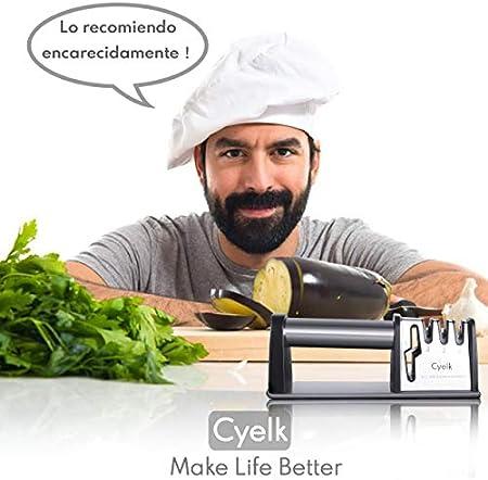 Cyelk Afilador de Cuchillos Profesional, 4 Etapas Knife Sharpener, 4 en 1 Afilador de Cocina Manual, para Cuchillos y Tijeras