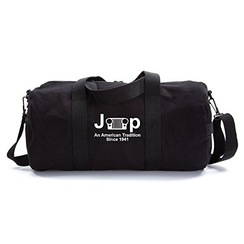 Jeep An American Tradition Since 1941 Army Sport Heavyweight Canvas Duffel Bag in Black & White, Large