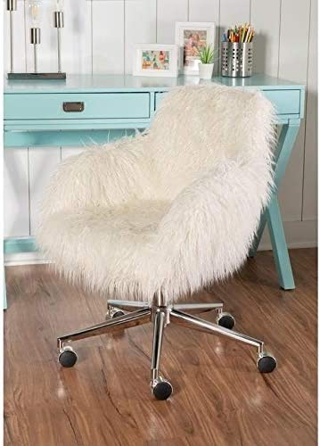 Linon Amber Off-White Faux-Fur Office Chair