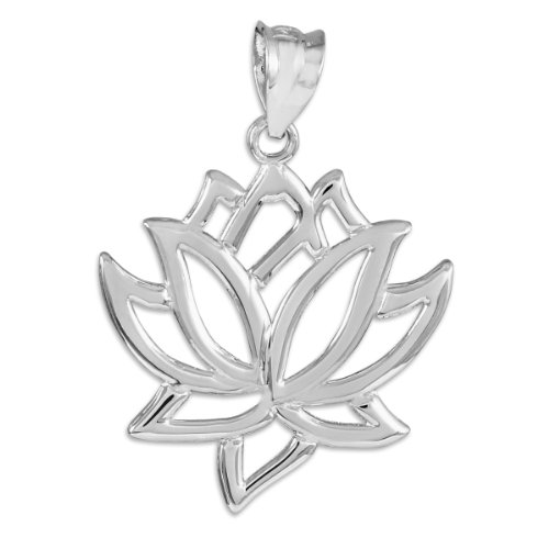 (14k White Gold Lotus Flower Pendant)